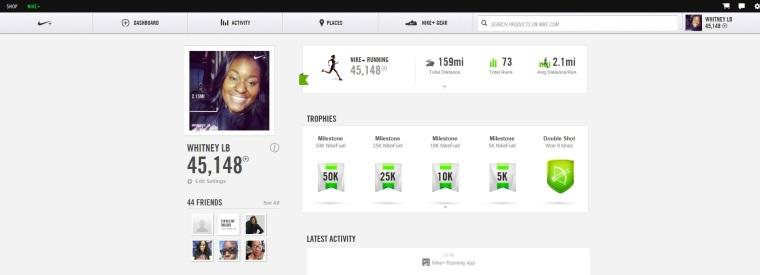 nike running profile
